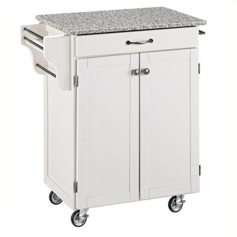 White Wood Cart with Salt and Pepper Granite Top