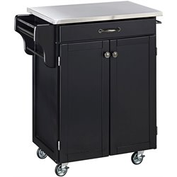 Black Wood Kitchen Cart with Stainless Steel Top