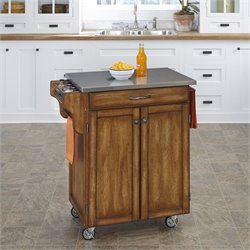 Cottage Oak Wood Cart with Stainless Steel Top