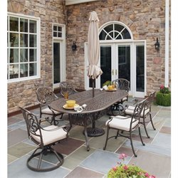 7 Piece Metal Patio Dining Set in Taupe