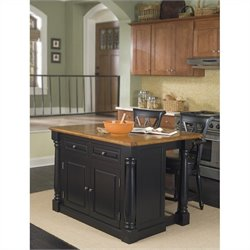 Home Styles Monarch Kitchen Island and Bar Stools 3 Piece Set