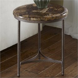 Accent Table in Petrified Wood and Gray