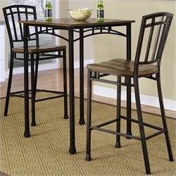 Home Styles Modern Craftsman 3 Piece Bistro Set in Oak and Brown