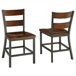 Home Styles Cabin Creek Dining Chair Pair in Multi-step Chestnut