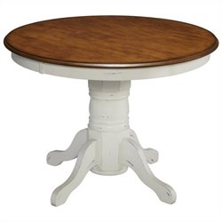 Pedestal Table in Oak and Rubbed White