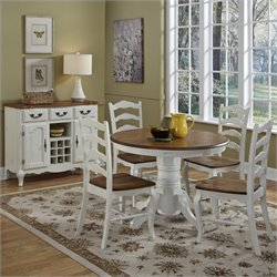 5 Pieces Dining Set in Oak and Rubbed White