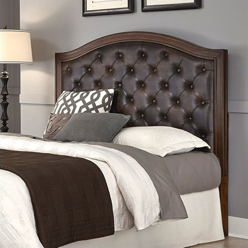 Tufted Panel Headboard With Brown Leather In Cherry 5545