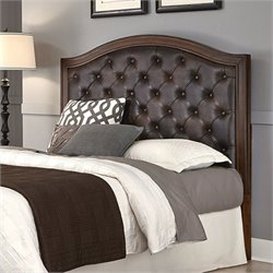 Tufted Panel Headboard with Brown Leather in Cherry