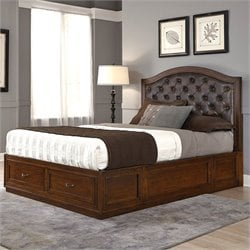 Bed with Brown Leather in Rustic Cherry
