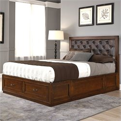 Home Styles Duet Panel Bed with Brown Leather in Rustic Cherry