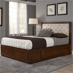 Home Styles Duet Panel Bed with Oyster Microfiber in Rustic Cherry