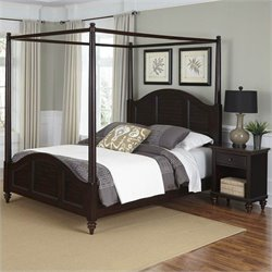 Canopy Bed and Night Stand Espresso Finish