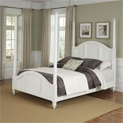Poster Bed Brushed White Finish