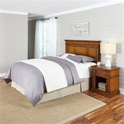 2 Piece Full Queen Headboard Bedroom Set in Oak