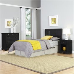 Twin Headboard 3 Piece Bedroom Set in Black