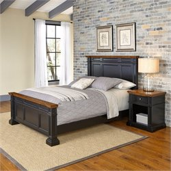 Queen 2 Piece Bedroom Set in Black and Oak