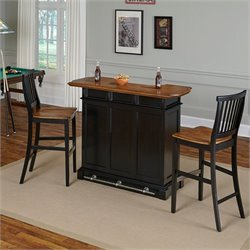 Home Bar and Two Stools in Black Oak