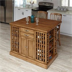 Kitchen Island with Stools in Warm Oak (Set of 2)