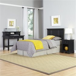 Twin Headboard 4 Piece Bedroom Set in Black