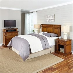 Headboard 4 Piece Bedroom Set in Oak