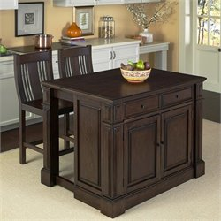 Kitchen Island Cart with Stools in Black