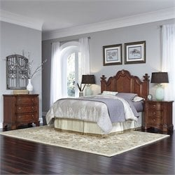 Headboard 4 Piece Bedroom Set in Cognac