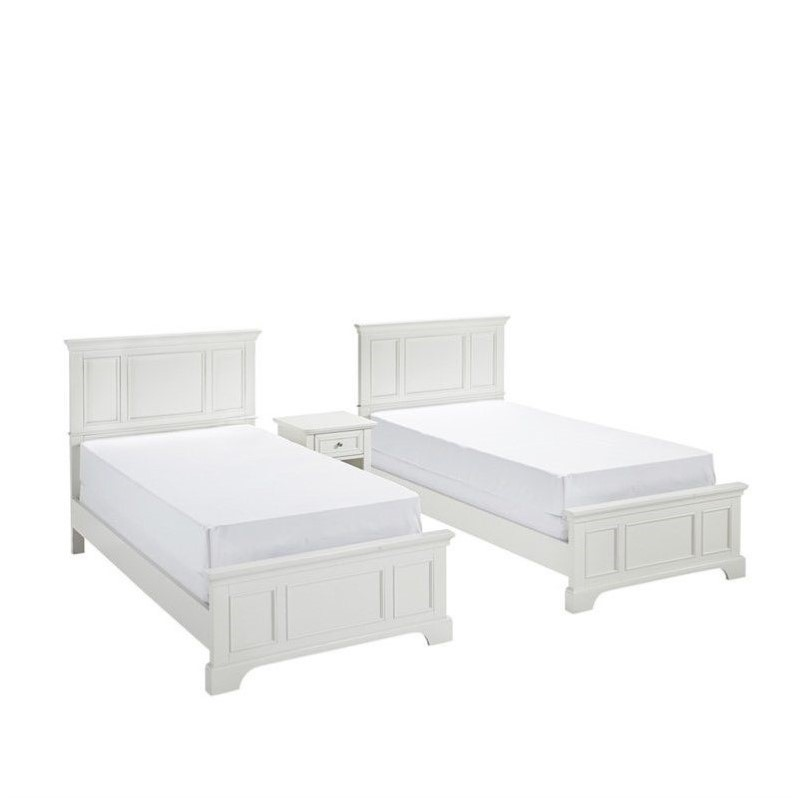 Two Twin Beds 3 Piece Bedroom Set in White