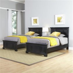 Two Twin Beds and Night Stand in Black