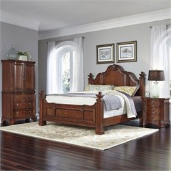 King 3 Piece Bedroom Set in Cognac