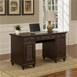 5 Drawer Wood Pedestal Desk in Espresso