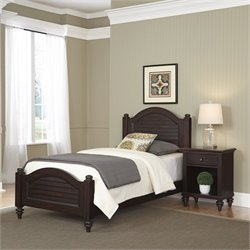 2 Piece Wood Twin Bedroom Set in Espresso