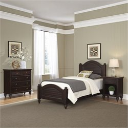 3 Piece Wood Twin Bedroom Set in Espresso