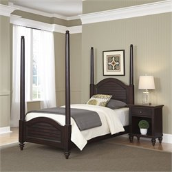2 Piece Wood Twin Poster Bedroom Set in Espresso