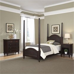 3 Piece Wood Twin Poster Bedroom Set in Espresso