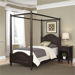 2 Piece Wood Twin Canopy Bedroom Set in Espresso