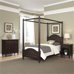 3 Piece Wood Twin Canopy Bedroom Set in Espresso