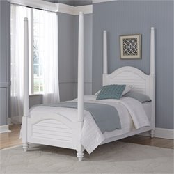 Wood Twin Poster Bed in White