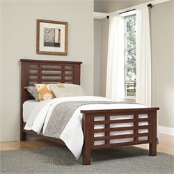 Wood Twin Slatted Bed in Chestnut