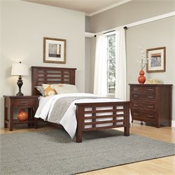 Home Styles Cabin Creek 3 Piece Wood Twin Bedroom Set in Chestnut