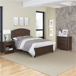3 Piece Wood Queen Bedroom Set in Tortoise