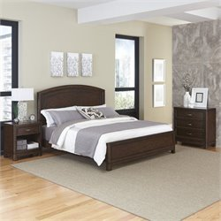 3 Piece Wood King Bedroom Set in Tortoise