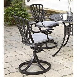 Patio Swivel Dining Chair with Cushion in Charcoal