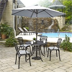 6 Piece Patio Dining Set with Umbrella in Charcoal