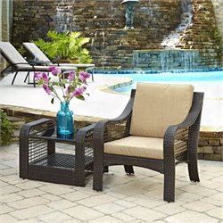 2 Piece Patio Sofa Set in Deep Brown