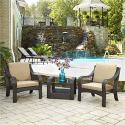 3 Piece Patio Sofa Set in Deep Brown