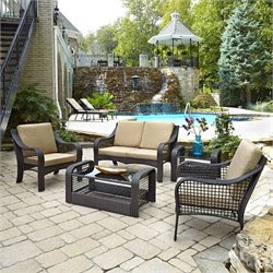 5 Piece Patio Sofa Set in Deep Brown