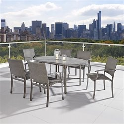Patio 7 Piece Dining Set in Aged Metal