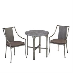 3 Piece Patio Bistro Set in Aged Metal