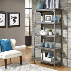 5 Shelf Bookcase in Aged Metal