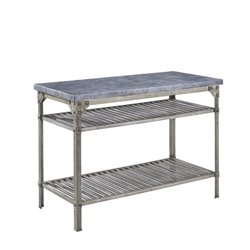 Kitchen Island in Aged Metal with Concrete Top